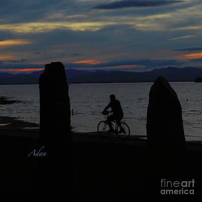 Photograph - Sunset Bicycle At Earth Clock Burlington Vermont Square by Felipe Adan Lerma