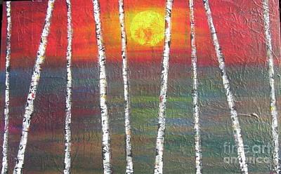 Sunset Birch Print by Jacqueline Athmann