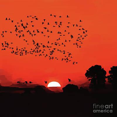 Flying Seagull Painting - Sunset Birds Flying 03 by Gull G