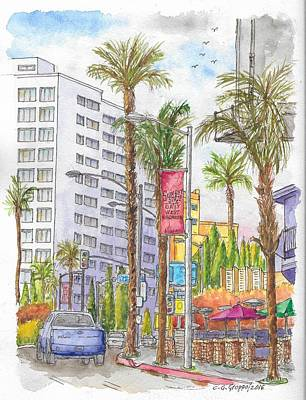Los Angeles Kings Painting - Sunset Blvd. And King Rd, Mondrian Hotel, West Hollywood, California by Carlos G Groppa