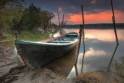 Sunset Boat Art Print by Evgeni Dinev