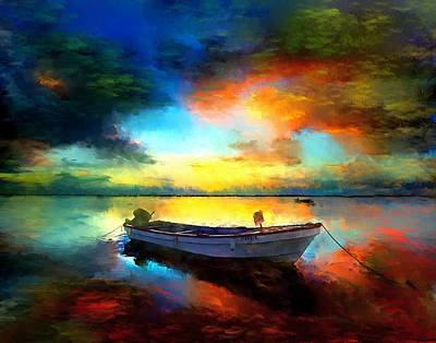 Sunset Boat Landscape Artwork Painting Art Print by Andres Ramos
