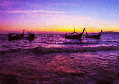 Digital Art - Sunset Boats by Charmaine Zoe