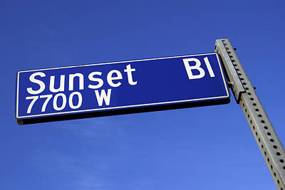 Photograph - Sunset Boulevard Sign Against A Blue Sky From A Low Angle by Thinkstock