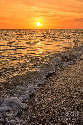 Sunset Bowman Beach Sanibel Island Florida  Art Print by Edward Fielding