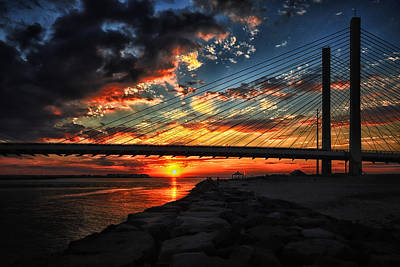 Photograph - Sunset Bridge At Indian River Inlet by Bill Swartwout