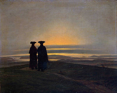 David Painting - Sunset, Brothers by Caspar David Friedrich