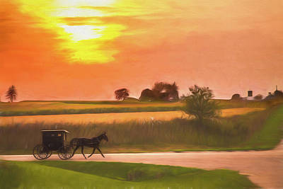 Art Print featuring the photograph Sunset Buggy Ride by Joel Witmeyer