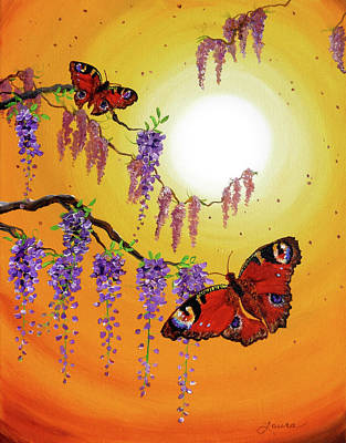Visionary Art Painting - Sunset Butterflies by Laura Iverson