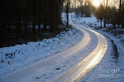 Photograph - Sunset By An Icy Country Road by Kennerth and Birgitta Kullman