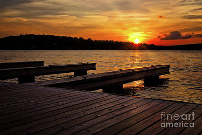 Photograph - Sunset By The Dock On The Lake by Mark Miller
