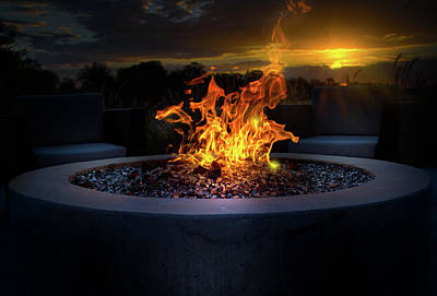 Travel Pics Royalty-Free and Rights-Managed Images - Sunset by the Fire by Mark Andrew Thomas