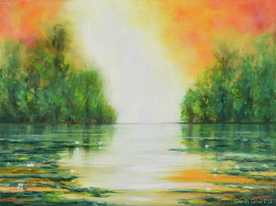 Painting - Sunset By The Lake by Gina De Gorna