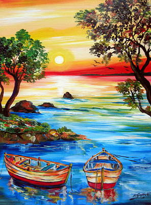 Painting - Sunset By The Lake With Boats by Roberto Gagliardi