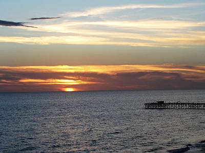 Beach Photograph - Sunset By The Pier by Nancy Hopkins
