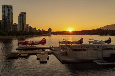 Sunset By The Seaplanes Art Print