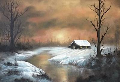 Painting - Sunset Cabin  by Paintings by Justin Wozniak