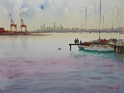 Painting - Sunset Calm In The Bay by Lior Ohayon