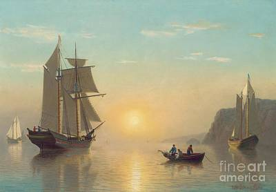 Boats Painting - Sunset Calm In The Bay Of Fundy by William Bradford