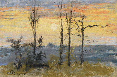 Sunset Art Print by Camille Pissarro