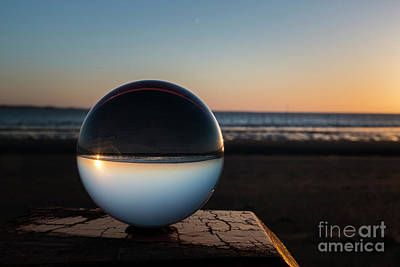 Photograph - Sunset Captured In Glass Crystal Sphere by Compuinfoto