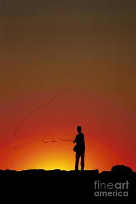 Sunset Casting Art Print by John Greim