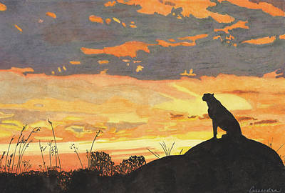 Cheetah Drawing - Sunset Cheetah by Cassandra Scott