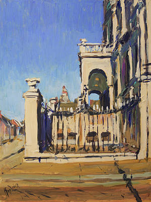 Painting - Sunset Cityhall Maastricht Entrance by Nop Briex