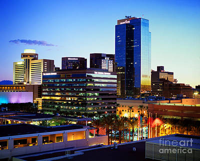 Photograph - Sunset Cityscape Of Phoenix Arizona by Wernher Krutein