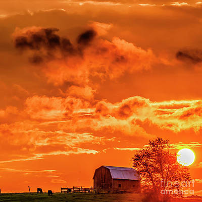 Photograph - Sunset Clouds And Barn by Thomas R Fletcher