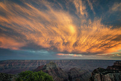 Photograph - Sunset Clouds Over The Grand Canyon 7r2_dsc1807_08132017 by Greg Kluempers