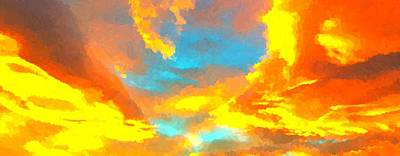 Painting - Sunset Clouds by Samuel Majcen