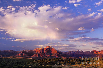 Photograph - Sunset Clouds West Temple Zion National Park Utah by Dave Welling