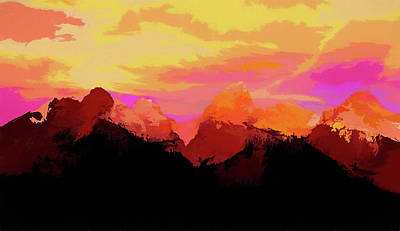 Painting - Sunset Colors Of The Tetons by Dan Sproul