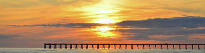 Photograph - Sunset Colors Over Navarre Pier Panoramic by Jeff at JSJ Photography