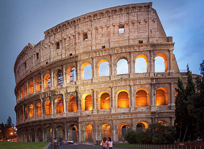 Photograph - Sunset Coloseum Rome by Alex Saunders