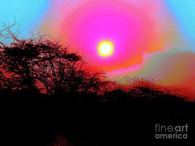 Digital Art - Sunset Corona And Blue Sky Hawaii by Expressionistart studio Priscilla Batzell