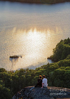 Photograph - Sunset Couple, Camden, Maine  -43980 by John Bald