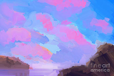 Abstract Beach Landscape Painting - Sunset Cove  by Pixel Chimp