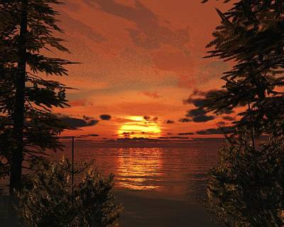 Coastal Forest Painting - Sunset Cove by Timothy McPherson