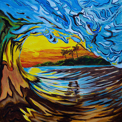 Crashing Wave Painting - Sunset Crashing Wave Painting - Three Palms by Christopher Smart