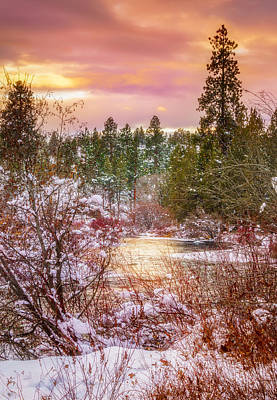 Thomas Kinkade Rights Managed Images - Sunset Creek Royalty-Free Image by S A Littau
