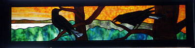 Glass Art - Sunset Crows by Jane Croteau