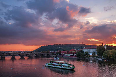 Photograph - Sunset Cruise By Vltava River. Prague by Jenny Rainbow
