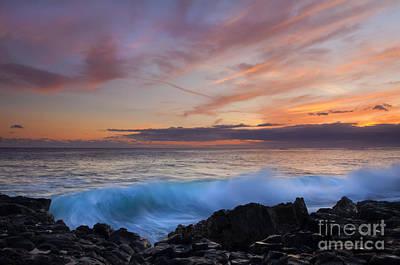 Poipu Photograph - Sunset Curl by Mike Dawson