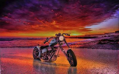 sunset Custom Chopper Art Print