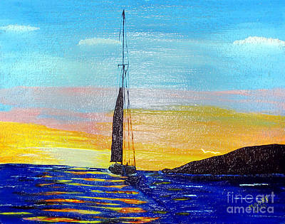 Sailboat Painting - Sunset D2 by Michael Moore