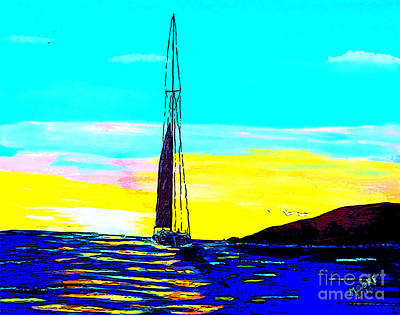 Sailboat Painting - Sunset D4 by Michael Moore