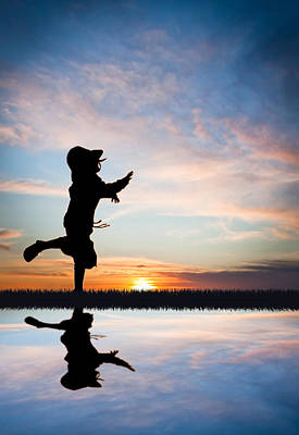 Running Photograph - Sunset Dash by Maggie Terlecki