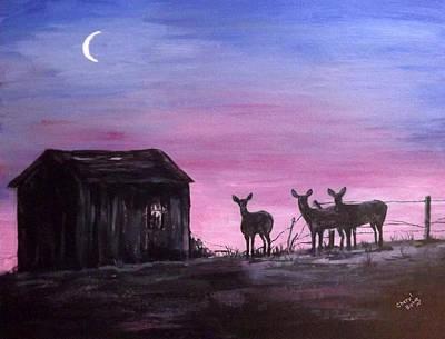 Wall Art - Painting - Sunset Deer by Cheryl Bishop